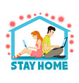 people working at home vector image