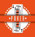 poker card king spade banner orange background vector image vector image