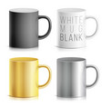 realistic cup mug set white black vector image vector image