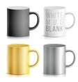 realistic cup mug set white black vector image