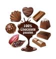 set icons chocolate vector image