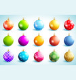 set of bright glowing christmas ball vector image