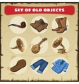 Set of old objects vest boots and other vector image vector image