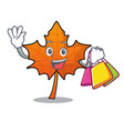 shopping red maple leaf character cartoon vector image
