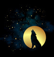 silhouette of wolf howling at the full moon vector image vector image