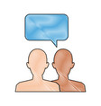 silhouette people with speech bubbles vector image vector image