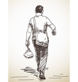 sketch walking man from back vector image vector image