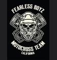 skull wearing motorcross helmet vector image vector image