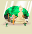 statue buddha old forest monk vector image vector image