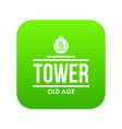 tower old age icon green vector image vector image
