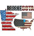 USA state of Minnesota on a brick wall vector image vector image