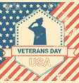 veterans day poster with us military soldier vector image