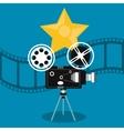 video camera movie film reel cinema icon vector image vector image