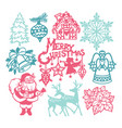 vintage christmas winter paper cut design vector image vector image