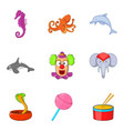 wild beast icons set cartoon style vector image vector image