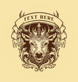 wild deer king animal logo vintage vector image vector image