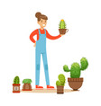 woman planting succulents hobby or profession vector image vector image