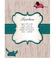 wooden card with cat and mouse vector image