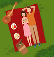 young couple two people woman and man lie on the vector image