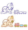baby and train vector image