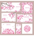 Greeting cards with blossoming sakura vector image