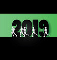 2019 happy new year with the runners vector image vector image