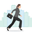 a business woman running with her briefcase vector image vector image