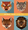 Animal face icon set vector image