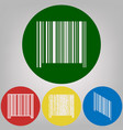 bar code sign 4 white styles of icon at 4 vector image vector image