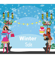 beautiful girls on winter shopping - card vector image vector image