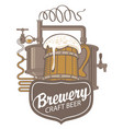 beer banner with production line and wooden mug vector image vector image