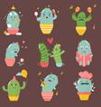 big set cute cartoon cacti vector image