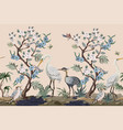 border in chinoiserie style with herons vector image vector image
