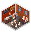 caffeteria restaurant isometric composition vector image vector image