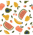 childish seamless pattern with cute fruits vector image vector image