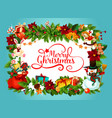 christmas poster with frame of fir garland vector image vector image