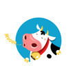 circle emblem a mooing cow vector image vector image