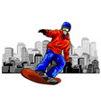 colored hand sketch snowboarder on a grunge vector image vector image