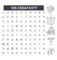 creativity editable line icons 100 set vector image vector image