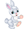Cute bunny walking isolated on white background vector image vector image