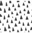 Cute pattern with black hand drawn triangles