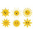 cute smiling sun faces for child design vector image vector image