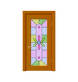 Door with stained-glass windows isolated vector image vector image