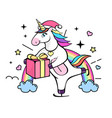 fantasy skating unicorn with christmas present vector image vector image
