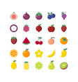 fruit coloring flat icons set vector image