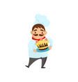 funny chef holding plate with delicious cake vector image