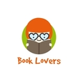 funny girl in glasses logotype Book store vector image vector image