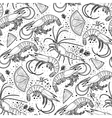 Graphic shrimps pattern vector image