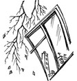 graphic stylized window with branch vector image vector image