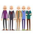 group of old people older man character in vector image